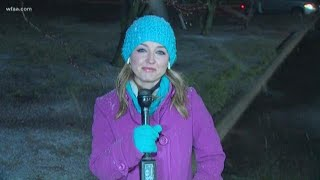Snow, sleet comes down across North Texas