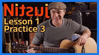 Nitsuj Learning Guitar. Lesson 1 Practice 3 Justin Guitar Beginner Course 2020