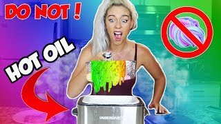 DO NOT DEEP FRY SLIME! DEEP FRYING RAINBOW SLIME! SO SCARY! | NICOLE SKYES