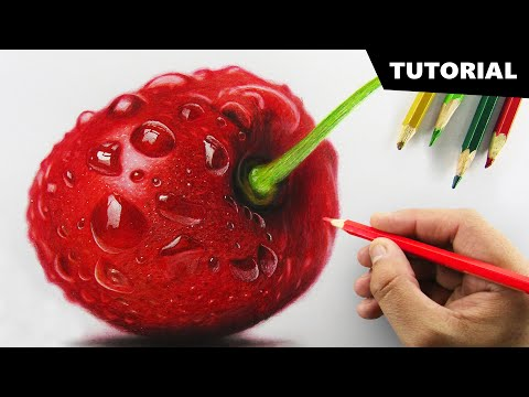 Draw CHERRY with Colored pencils   Tutorial for BEGINNERS