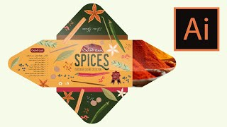 Spices PACKAGING DESIGN Marocaine Cuisine Collection - Tutorial Adobe  Illustrator CC - (section A)