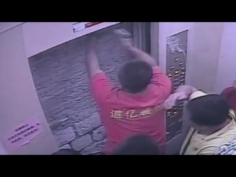 Man chisels his way out of elevator