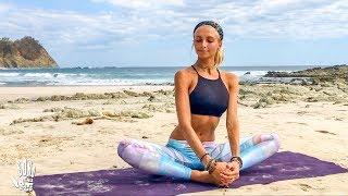 Yoga For Beginners ♥ Easy Stretch & Stress Release   Playa Barrigona