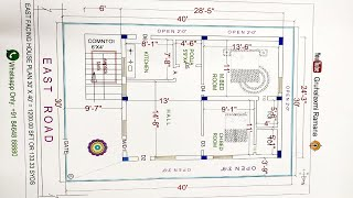 30x40 East Facing House Plan 1200.00 Square Feet  Or 133.33 Square Yards By Gruhalaxmi Ramana