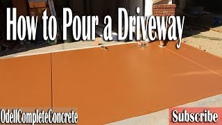 How to Pour a Colored Concrete Driveway and Patio with Cantilever Stairs