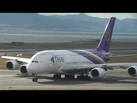 Thai Airways International A380 (HS-TUD)  takeoff from Osaka-Kansai