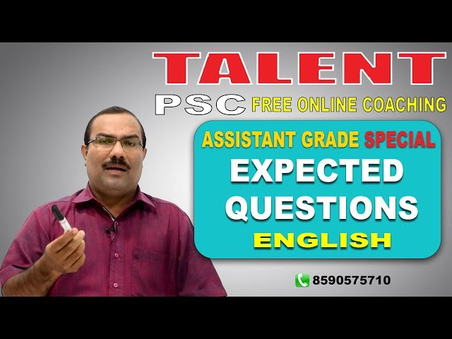 PSC | Assistant Grade Special | EXPECTED QUESTIONS - English