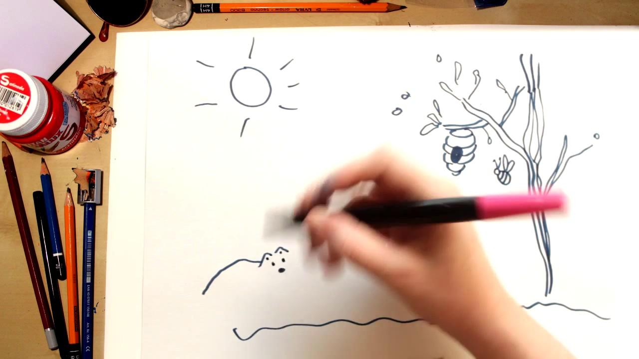 Como desenhar uma Colmeia e abelhas - desenhos para crianças