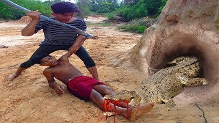 The First Creative Boys Crocodile Trap Using Hole Tire & chickens That Work 100% By Smart Boy