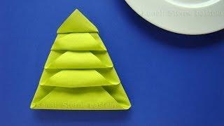 Servietten Falten Weihnachten: Tannenbaum Als Weihnachtsdeko Selber Machen    Tischdeko