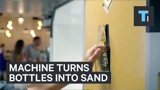 This machine crushes bottles and creates usable sand - Video Youtube
