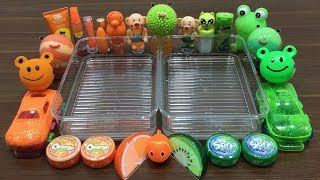 Mixing Random Things Into Clear Slime ! Orange Vs Green Special Series Part 11 Satisfying Slime