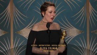 [HD] Olivia Colman Wins Best Actress   2019 Golden Globes
