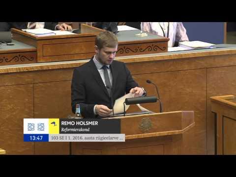 Rahanduskomisjoni esimees Remo Holsmer riigieelarve I lugemisel, 20.10.2015