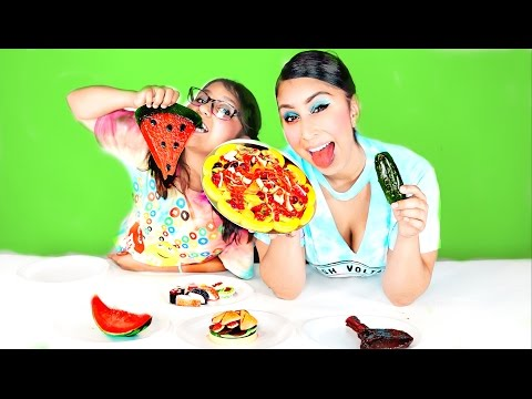 Real Food VS Gummy Food! Gross Giant Candy Challenge - Best Chef Edition