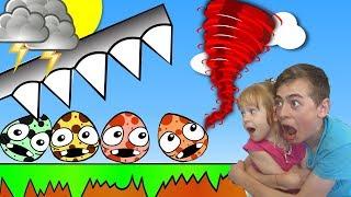 РАЗБИВАЕМ ЯЙЦА ТОРНАДО и ЗЕМЛЕТРЯСЕНИЕ Удар стихии видео игра для детей на канале GAMES FACTORY