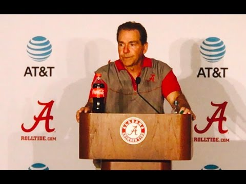 Alabama football coach Nick Saban talks to media after scrimmage