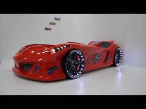 Speedy Turbo Tech Bilseng med LED-Lys og Lydpakke, Rød