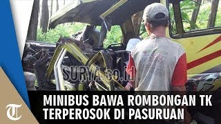 Minibus Bawa Rombongan TK Alami Kecelakaan Terperosok di Pasuruan