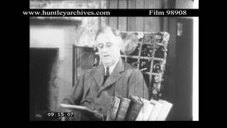 President Roosevelt at home talk.  Archive film 98908
