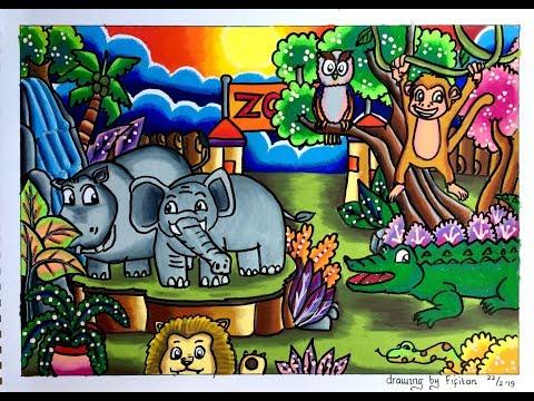 Menggambar Kebun Binatang Dan Gradasi Warna Oilpastel Carandache Neo
