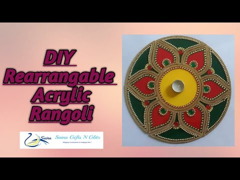 how to make acrylic rangoli design by saina