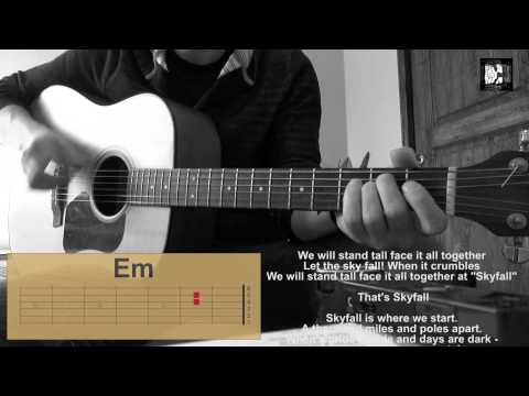 Adele - Skyfall. How to play the song. Cover, chords, lyrics. Guitar acoustic