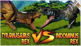 INDOMINUS REX Vs T- REX! 100% Mutated! Jurassic World: Evolution Dinosaur Battle Park E4