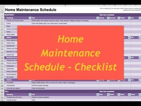 Home Maintenance Schedule - Checklist