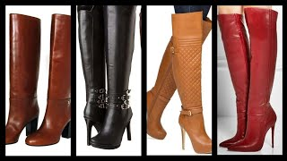 Latest Ladies Stylish Long Leather High Heel Boots Ideas | Latest Ladies Long Shoes Design