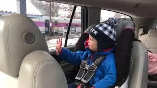 Carter saying goodbye to dada on the train