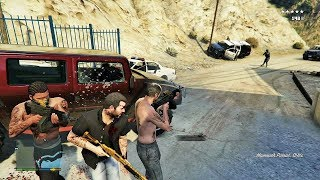 GTA 5 - Franklin, Michael and Trevor Five Star Escape From The LAND ACT DAM! # 25