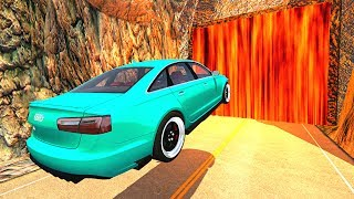 BeamNG.drive - Cars Against Hot LAVA Waterfall (*Wall of Lava*)