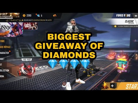FREE FIRE   BIGGEST GIVEAWAY OF DIAMONDS  