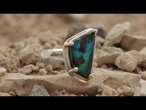 Blue & Green Solid Boulder Opal Ring from Koroit Queensland