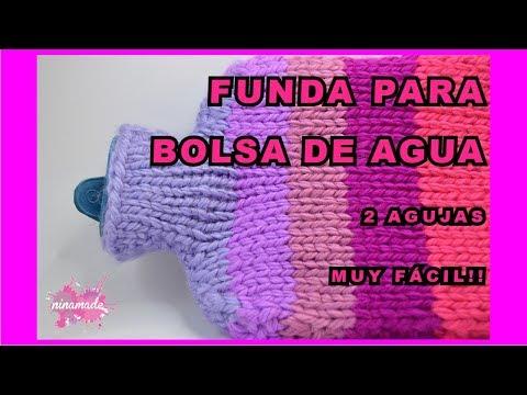 DIY. Funda Para Bolsa De Agua Caliente // Hot Water Bottle Cover With Two Needles