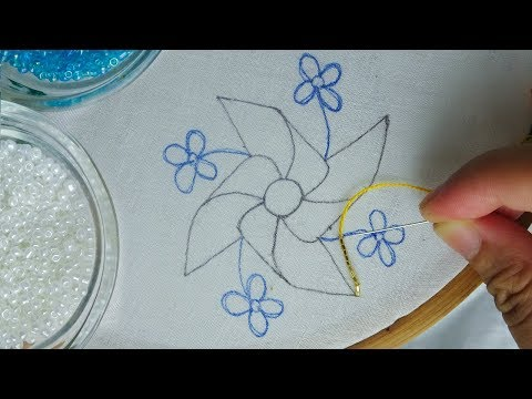 Beaded Hand embroidery flower tutorial easy beads works for dress beading tutorial