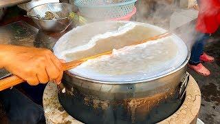 INTERESTING LAOS STREET FOOD | Steamed Rice Rolls With Pork Filling (Fawm Kauv), Vientiane, Laos
