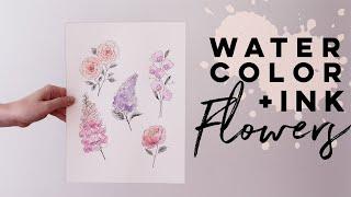 Simple Summer Flowers | Watercolor + Ink Art