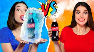 Extreme Challenge ONLY HOT vs COLD FOOD For 24 HOURS! Who Stop Eating  - LOSE! DIY Pranks by RATATA!