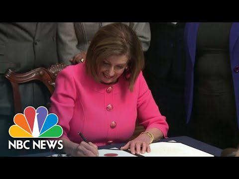 Nancy Pelosi Signs Resolution Before Delivering Articles Of Impeachment To Senate | NBC News