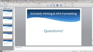 Scholarly Writing and APA Formatting: The Basics