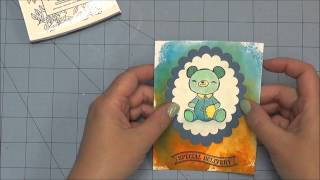 Distress Ink and Watercolor Baby Card
