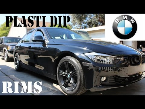 2014 BMW 328i Plasti dip rims with Glossifier DIY