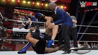 WWE 2K16-15 Custom Scenario: AJ Styles attacks Roman Reigns - RAW 05/09/2016