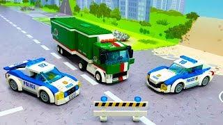 Машинки Лего мультики - Полицейская машинка  Автовоз - Лего стоп мультфильм. Lego police car toys.