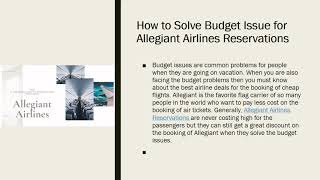 How to Solve Budget Issue for Allegiant Airlines Reservations