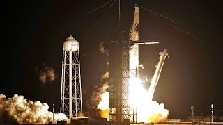 video: SpaceX launches four astronauts to space station in new era for Nasa