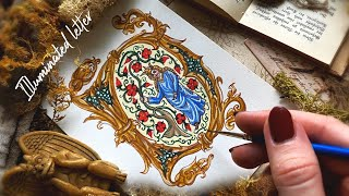 How To Draw Illuminated Letter D | Step By Step Watercolor Medieval Illuminated Manuscript Tutorial
