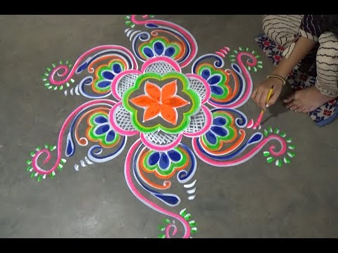 chowkpurana rangoli designs with dots
